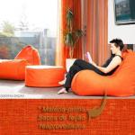 Mobiliário ecológico feito de sacos de feijão.