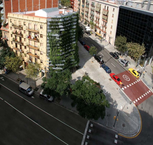 Jardim vertical em Barcelona Vista superior