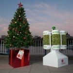 Árvore de Natal em Londres é iluminada com couves-de-bruxelas