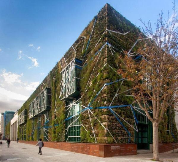 jardim vertical tecido:Jardim vertical do Palácio de Congressos de Vitoria, na Espanha