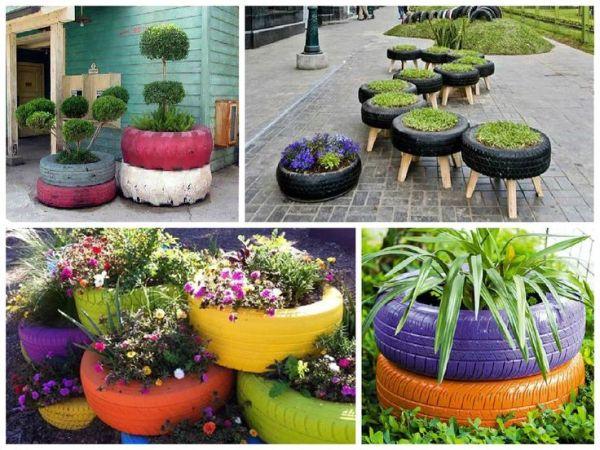 pneus na decoração - jardineiras