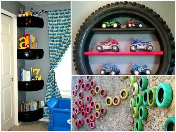 pneus na decoração - paredes