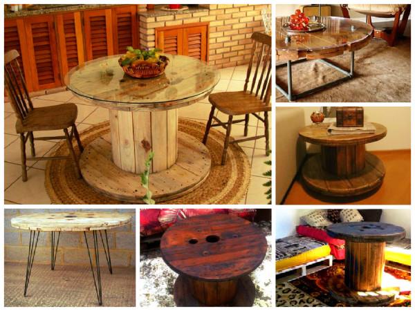 Dicas para reutilizar carret is de madeira na decora o for Mesas para bar rusticas