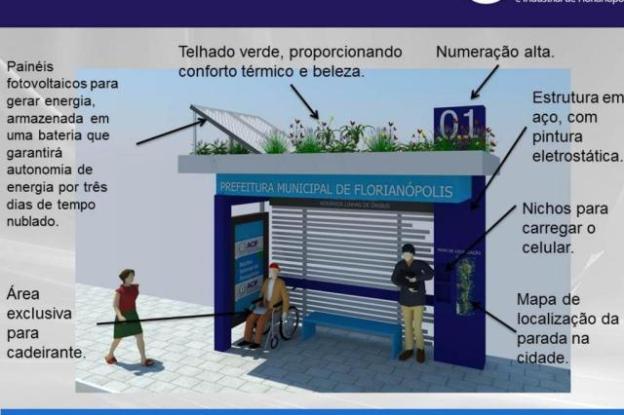 parada de ônibus sustentável em Florianópolis