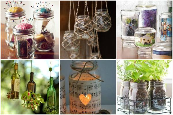 Potes de vidro na decoração