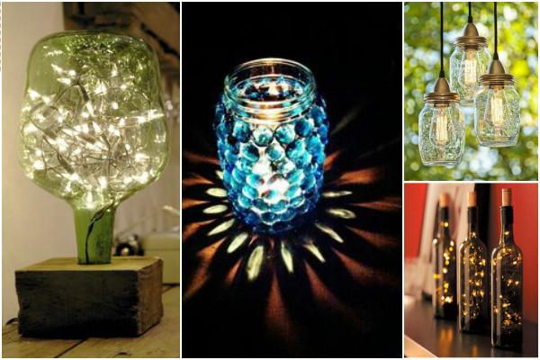 potes de vidro na decoração transformadas em luminárias