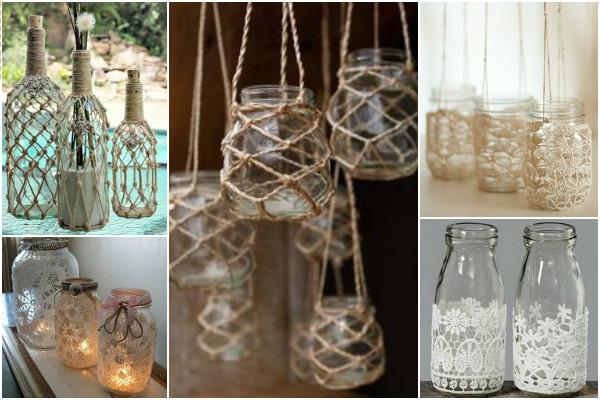 potes de vidro na decoração Macramê e Crochê
