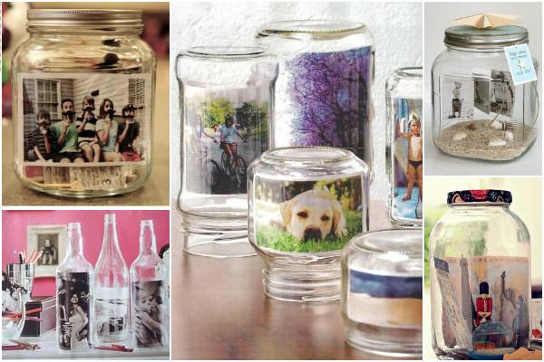 Porta-retrato potes de vidro