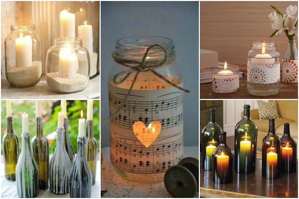 potes de vidro na decoração com velas