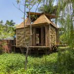 Casas flutuantes de bambu no Vietnã