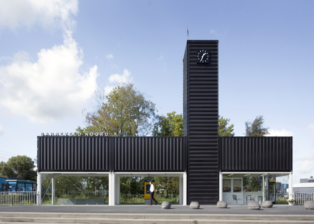 Estação de trem em contêineres na Holanda