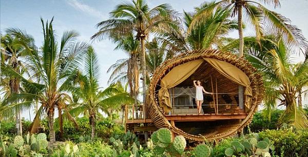 refúgio ecológico em bambu