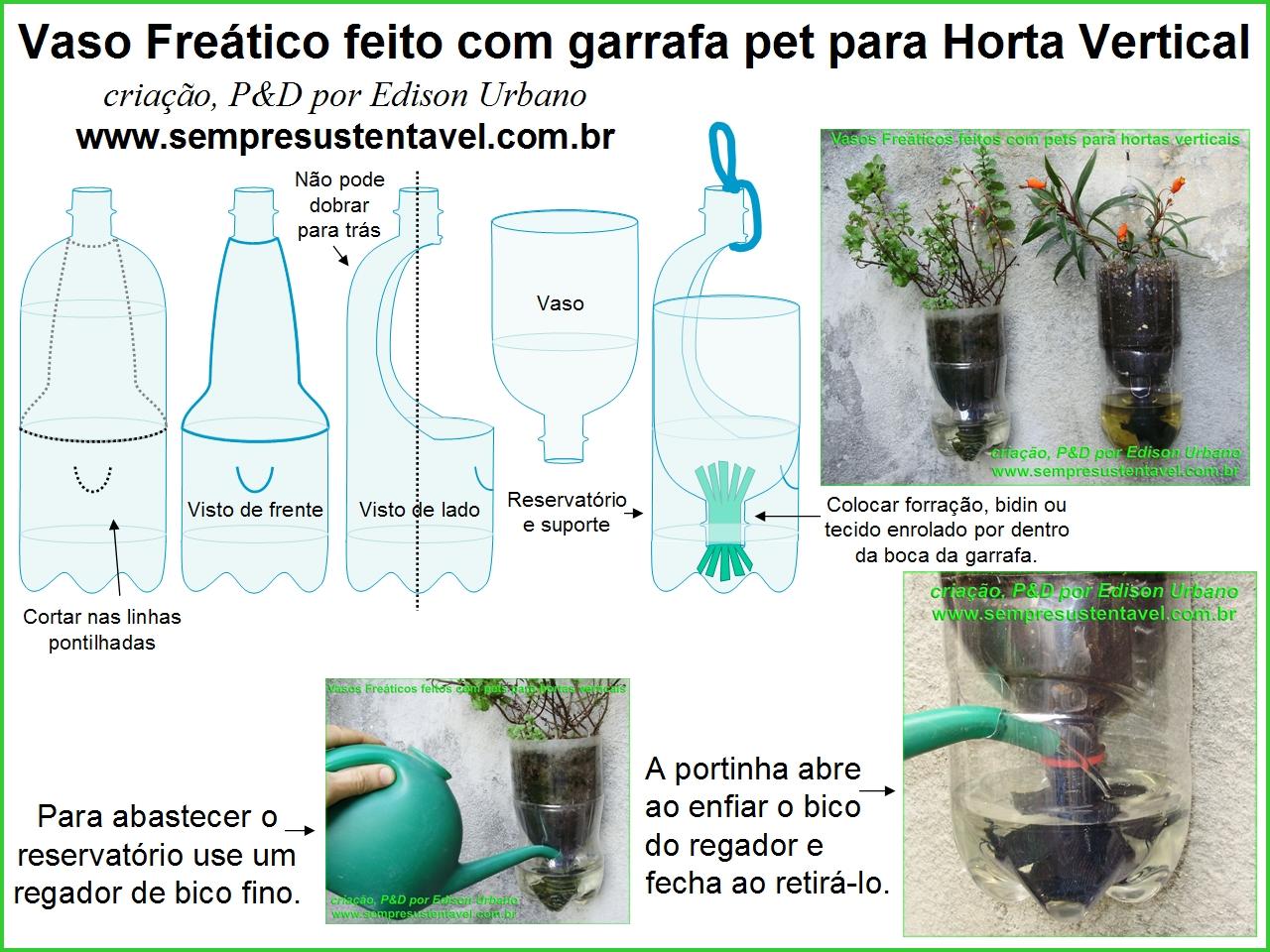 Hortas em garrafas PET