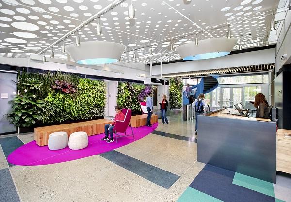 jardins verticais em escritórios - Microsoft