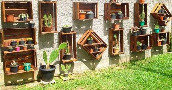 jardim com caixote de feira